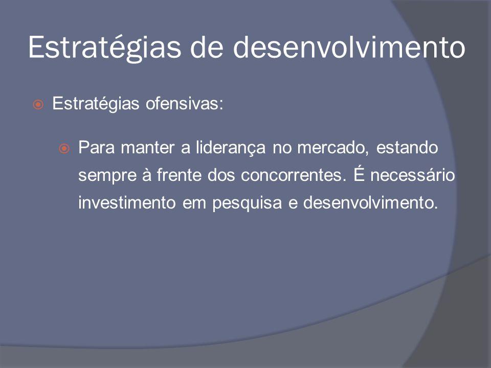 Estratégias de desenvolvimento Estratégias ofensivas: Para manter a liderança no mercado, estando sempre à frente dos concorrentes. É necessário inves
