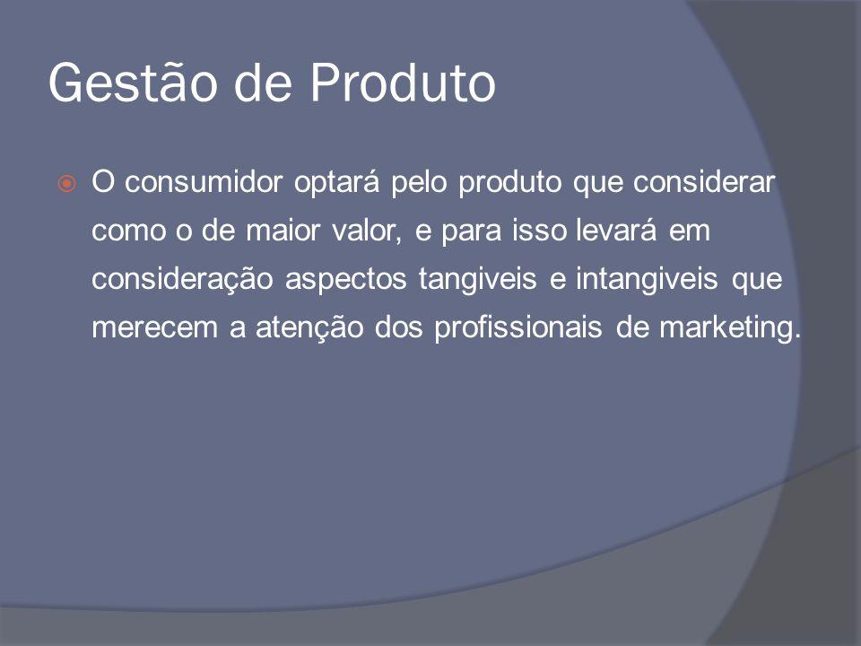 Gestão de Produto O consumidor optará pelo produto que considerar como o de maior valor, e para isso levará em consideração aspectos tangiveis e intan