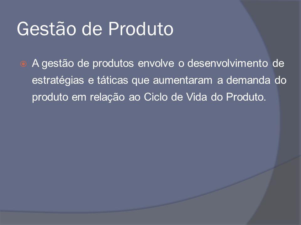 Gestão de Produto A gestão de produtos envolve o desenvolvimento de estratégias e táticas que aumentaram a demanda do produto em relação ao Ciclo de V