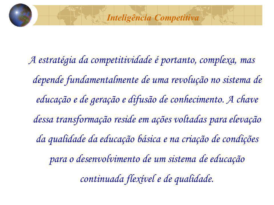 A estratégia da competitividade é portanto, complexa, mas depende fundamentalmente de uma revolução no sistema de educação e de geração e difusão de conhecimento.