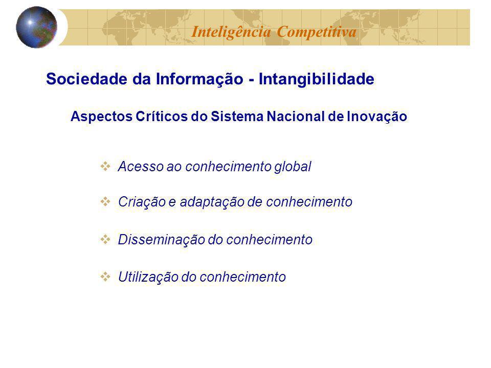 Acesso ao conhecimento global Criação e adaptação de conhecimento Disseminação do conhecimento Utilização do conhecimento Inteligência Competitiva Sociedade da Informação - Intangibilidade Aspectos Críticos do Sistema Nacional de Inovação