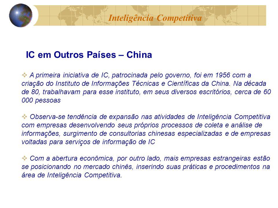 A primeira iniciativa de IC, patrocinada pelo governo, foi em 1956 com a criação do Instituto de Informações Técnicas e Científicas da China. Na décad