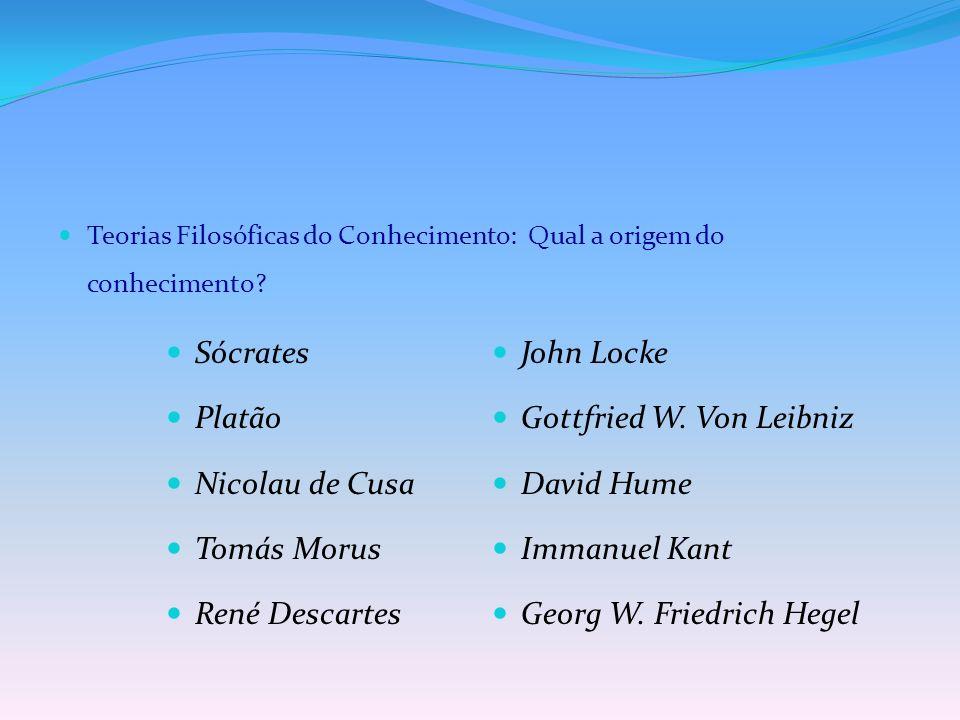 Teorias Filosóficas do Conhecimento: Qual a origem do conhecimento? Sócrates Platão Nicolau de Cusa Tomás Morus René Descartes John Locke Gottfried W.