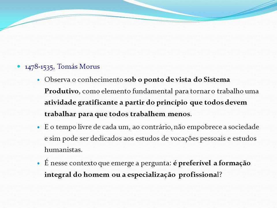 1478-1535, Tomás Morus Observa o conhecimento sob o ponto de vista do Sistema Produtivo, como elemento fundamental para tornar o trabalho uma atividad