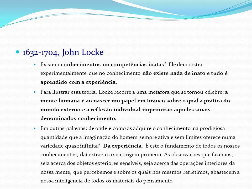 1632-1704, John Locke Existem conhecimentos ou competências inatas? Ele demonstra experimentalmente que no conhecimento não existe nada de inato e tud