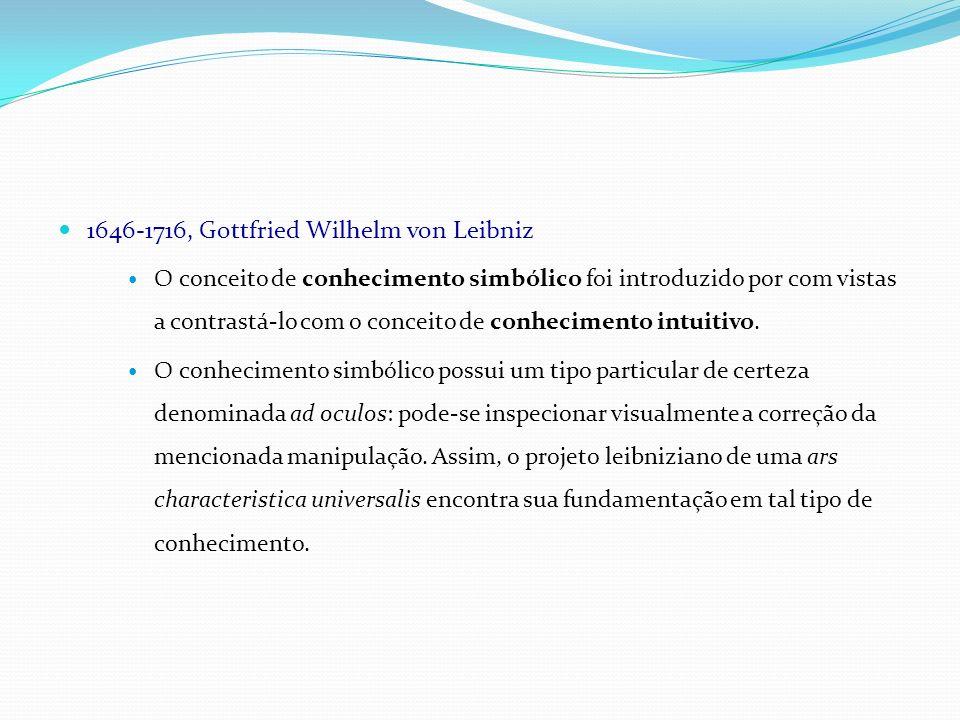 1646-1716, Gottfried Wilhelm von Leibniz O conceito de conhecimento simbólico foi introduzido por com vistas a contrastá-lo com o conceito de conhecim