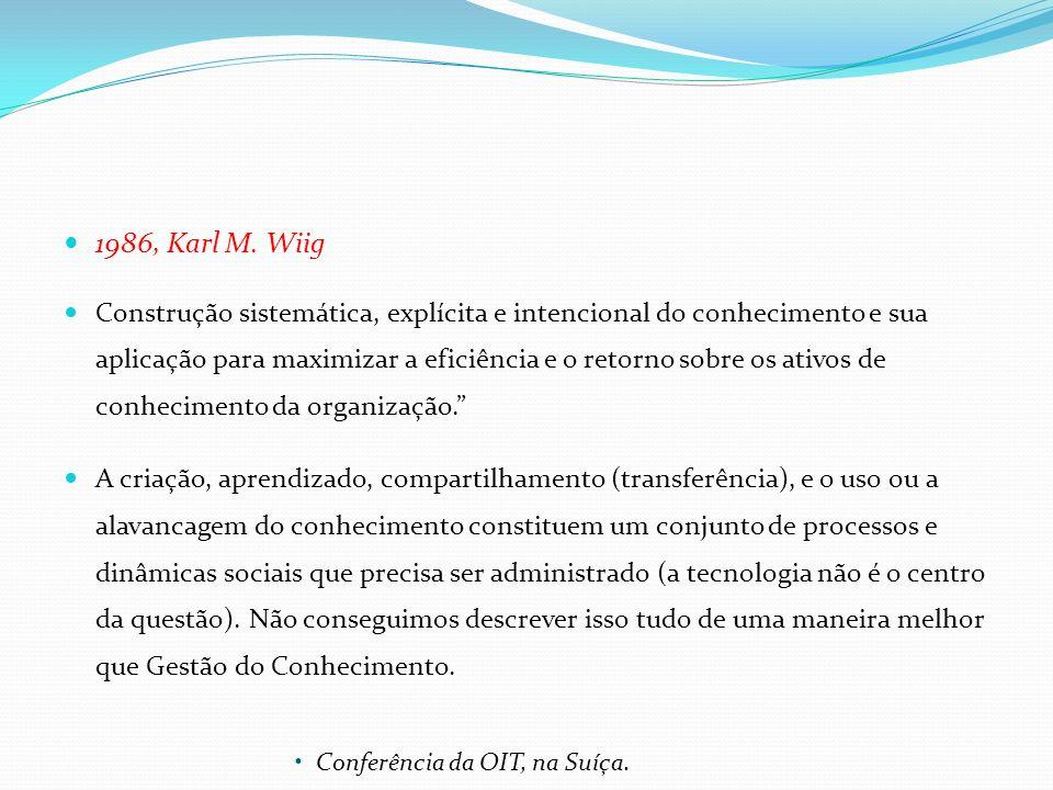 1986, Karl M. Wiig Construção sistemática, explícita e intencional do conhecimento e sua aplicação para maximizar a eficiência e o retorno sobre os at