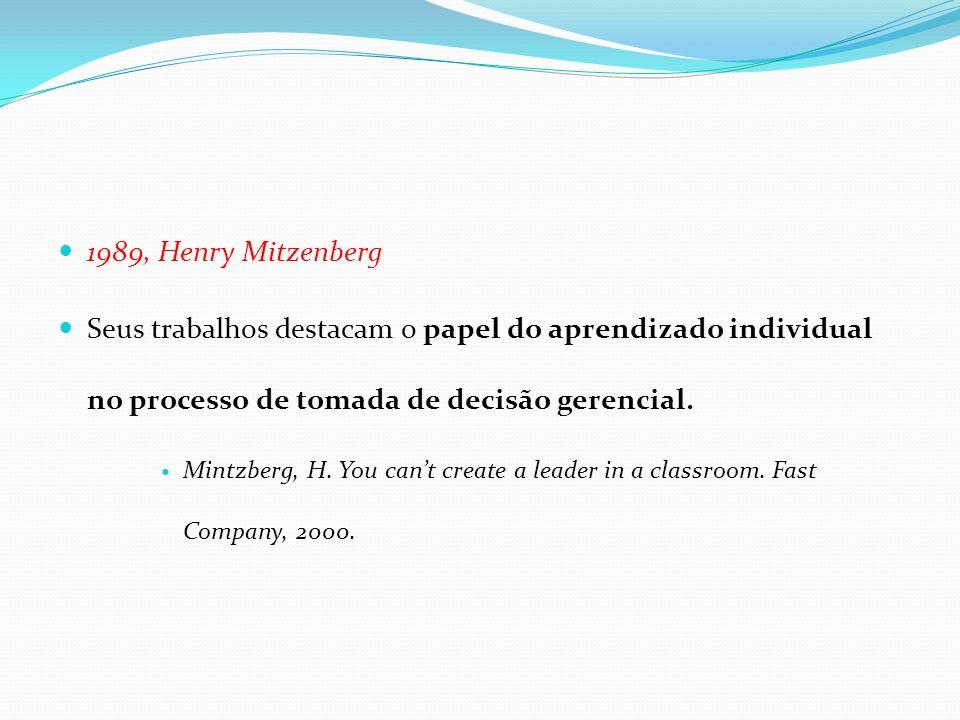 1989, Henry Mitzenberg Seus trabalhos destacam o papel do aprendizado individual no processo de tomada de decisão gerencial. Mintzberg, H. You cant cr