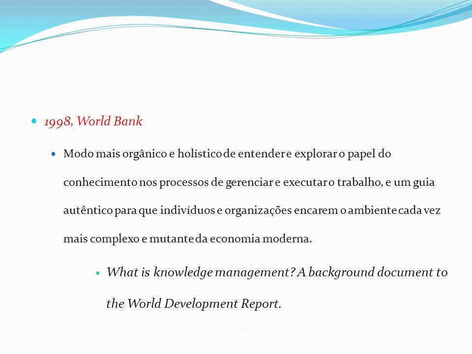 1998, World Bank Modo mais orgânico e holístico de entender e explorar o papel do conhecimento nos processos de gerenciar e executar o trabalho, e um