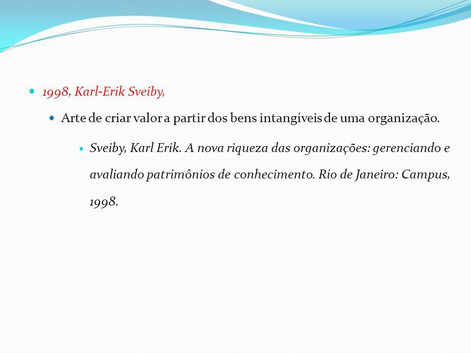 1998, Karl-Erik Sveiby, Arte de criar valor a partir dos bens intangíveis de uma organização. Sveiby, Karl Erik. A nova riqueza das organizações: gere