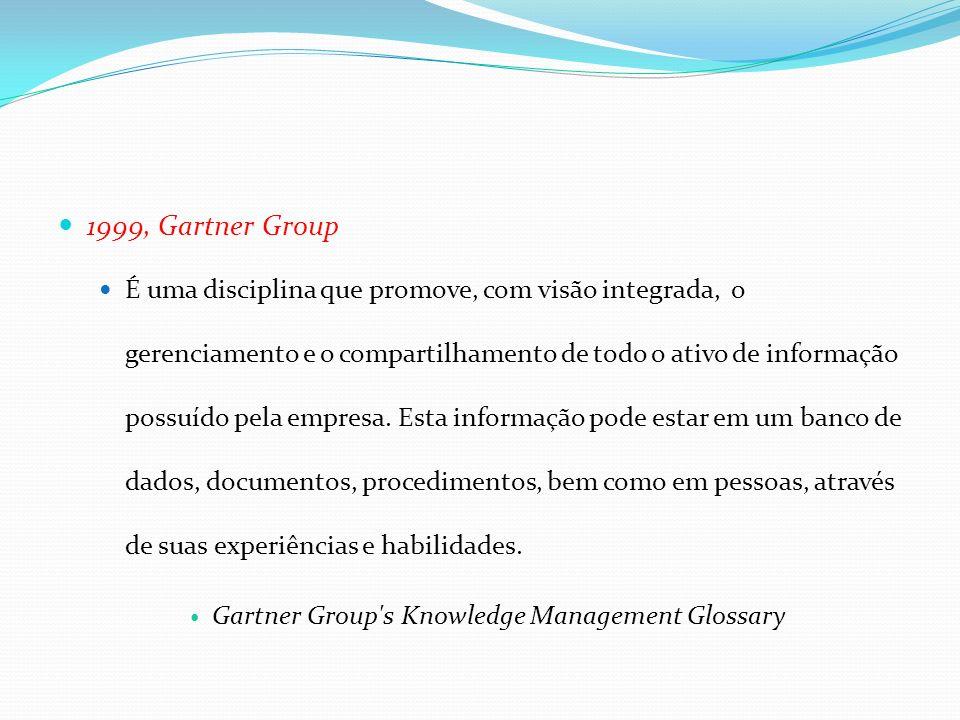 1999, Gartner Group É uma disciplina que promove, com visão integrada, o gerenciamento e o compartilhamento de todo o ativo de informação possuído pel
