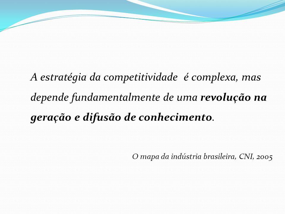 A estratégia da competitividade é complexa, mas depende fundamentalmente de uma revolução na geração e difusão de conhecimento. O mapa da indústria br