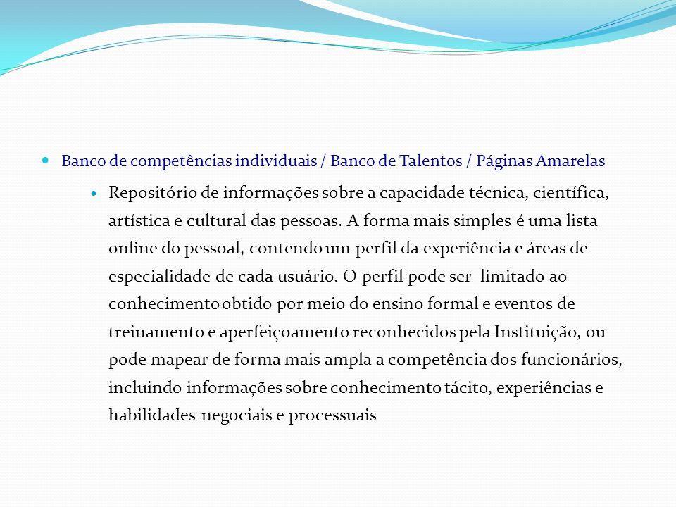 Banco de competências individuais / Banco de Talentos / Páginas Amarelas Repositório de informações sobre a capacidade técnica, científica, artística