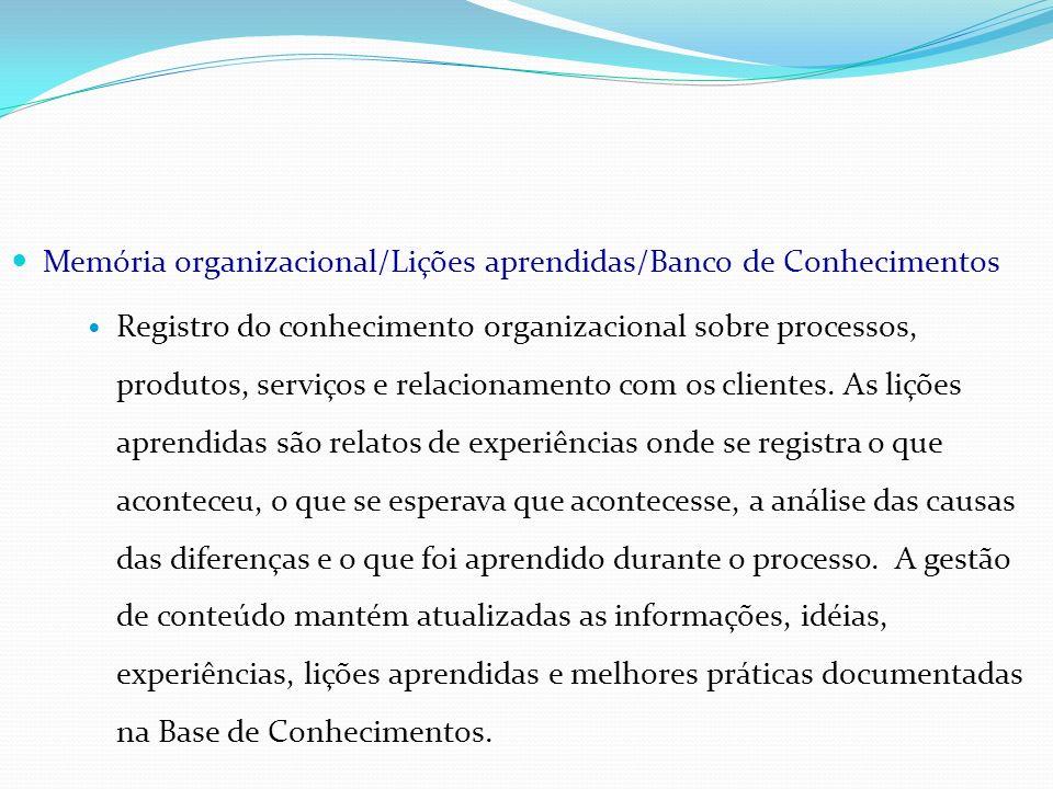 Memória organizacional/Lições aprendidas/Banco de Conhecimentos Registro do conhecimento organizacional sobre processos, produtos, serviços e relacion