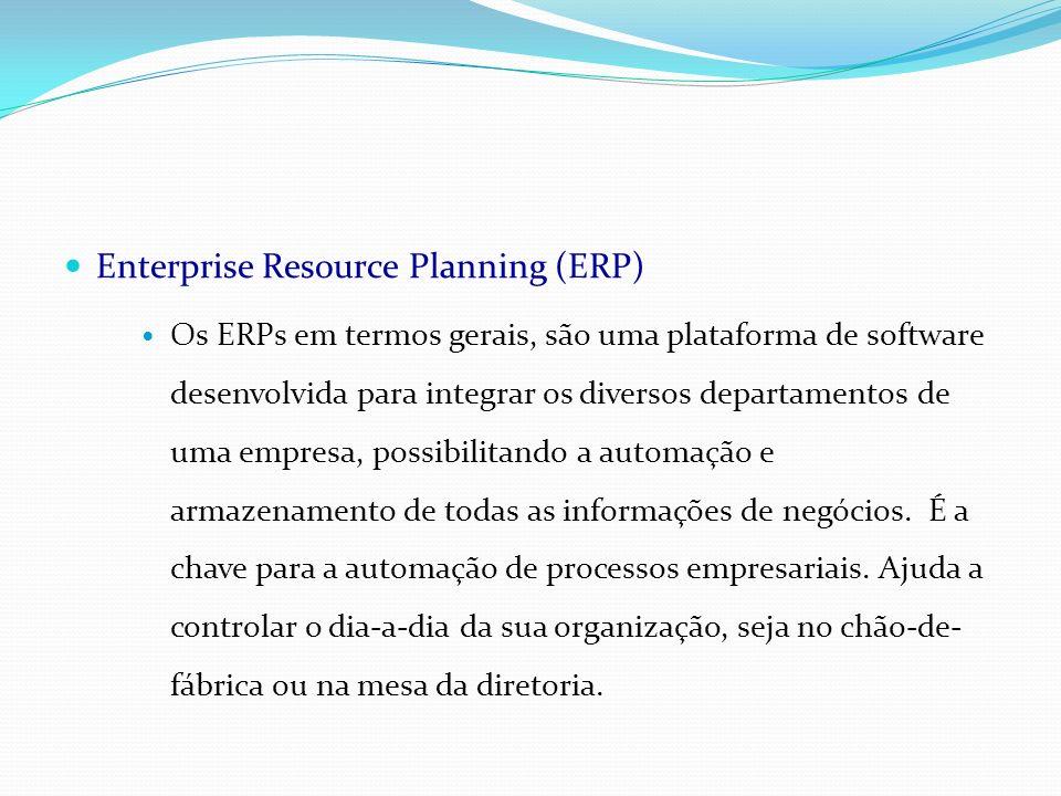 Enterprise Resource Planning (ERP) Os ERPs em termos gerais, são uma plataforma de software desenvolvida para integrar os diversos departamentos de um