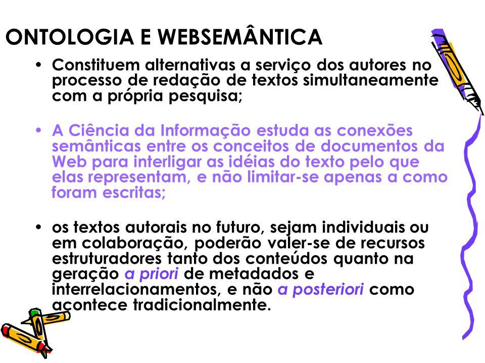 ONTOLOGIA E WEBSEMÂNTICA Constituem alternativas a serviço dos autores no processo de redação de textos simultaneamente com a própria pesquisa; A Ciên