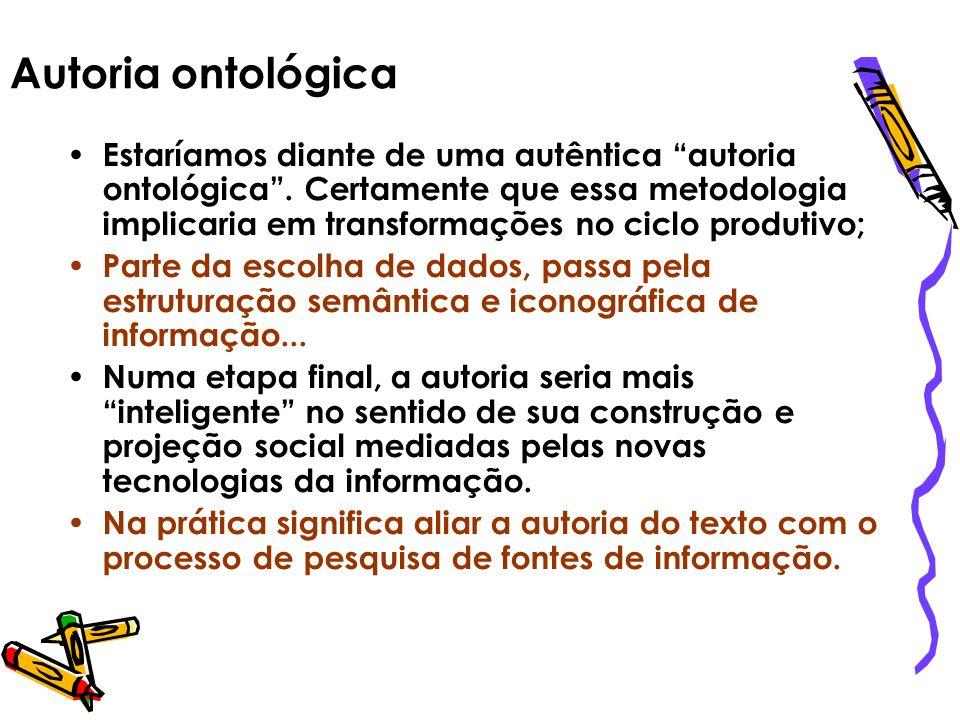 Autoria ontológica Estaríamos diante de uma autêntica autoria ontológica. Certamente que essa metodologia implicaria em transformações no ciclo produt