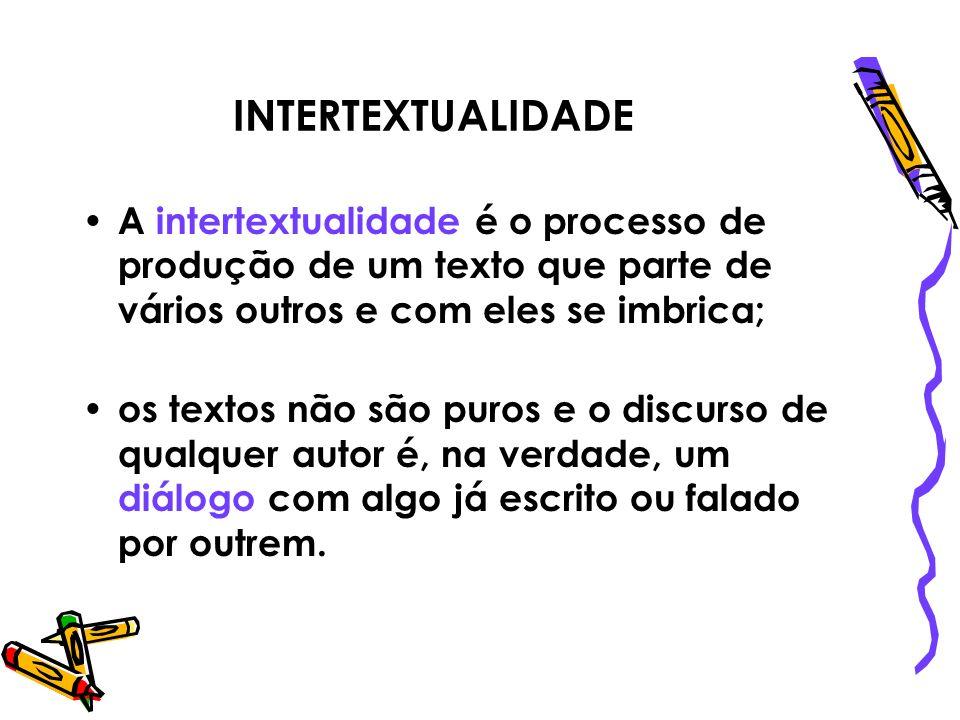 INTERTEXTUALIDADE A intertextualidade é o processo de produção de um texto que parte de vários outros e com eles se imbrica; os textos não são puros e