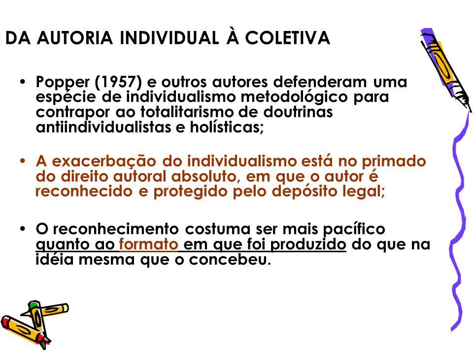 DA AUTORIA INDIVIDUAL À COLETIVA Popper (1957) e outros autores defenderam uma espécie de individualismo metodológico para contrapor ao totalitarismo
