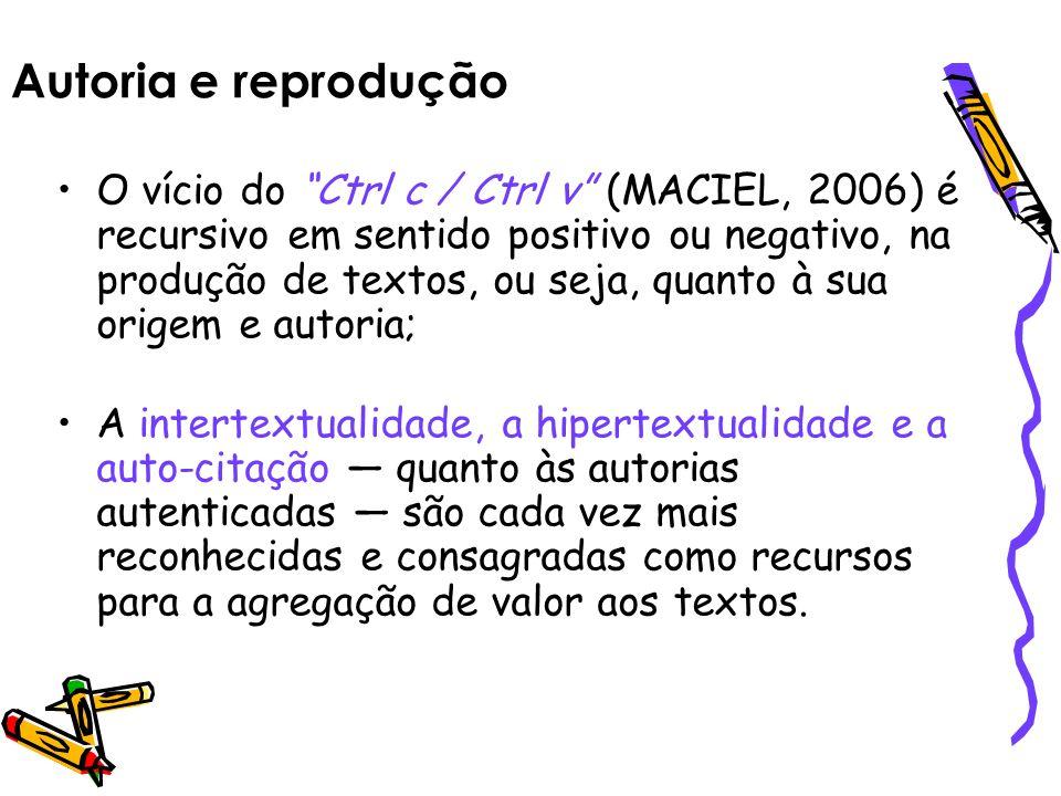 Autoria e reprodução O vício do Ctrl c / Ctrl v (MACIEL, 2006) é recursivo em sentido positivo ou negativo, na produção de textos, ou seja, quanto à s