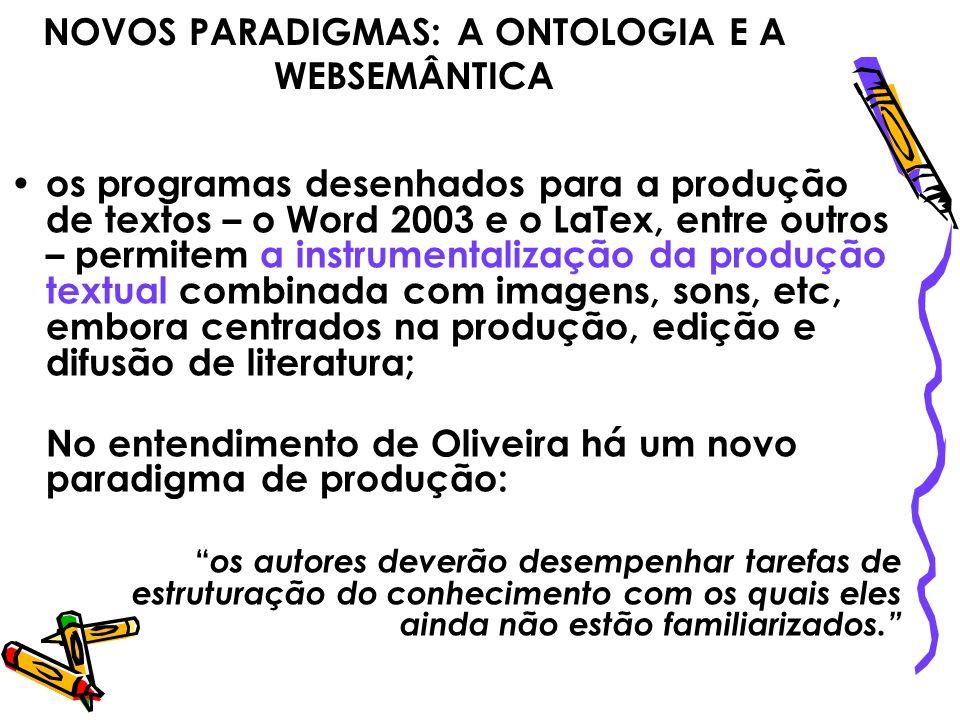 NOVOS PARADIGMAS: A ONTOLOGIA E A WEBSEMÂNTICA os programas desenhados para a produção de textos – o Word 2003 e o LaTex, entre outros – permitem a in