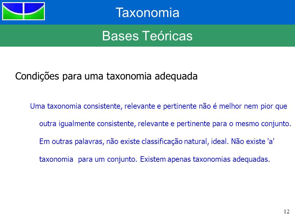 Taxonomia 12 Bases Teóricas Condições para uma taxonomia adequada Uma taxonomia consistente, relevante e pertinente não é melhor nem pior que outra ig