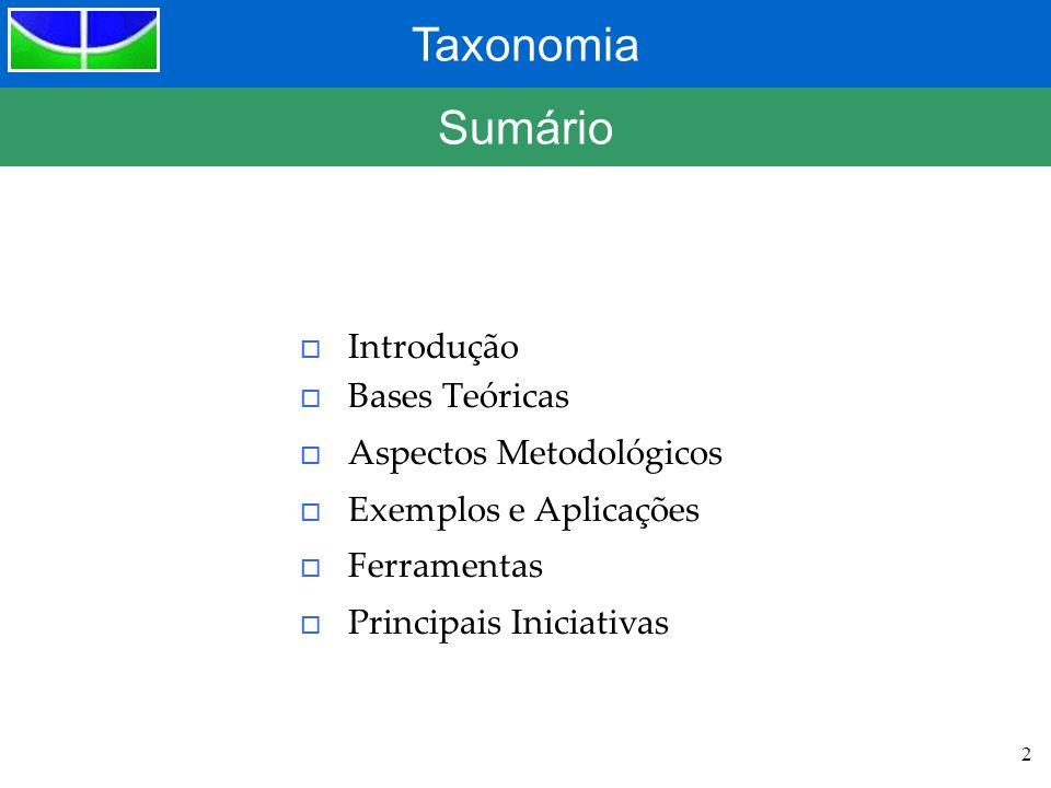 Taxonomia 2 Sumário o Introdução o Bases Teóricas o Aspectos Metodológicos o Exemplos e Aplicações o Ferramentas o Principais Iniciativas