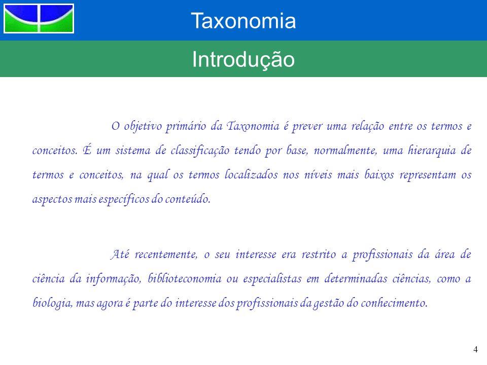 Taxonomia 4 Introdução O objetivo primário da Taxonomia é prever uma relação entre os termos e conceitos. É um sistema de classificação tendo por base