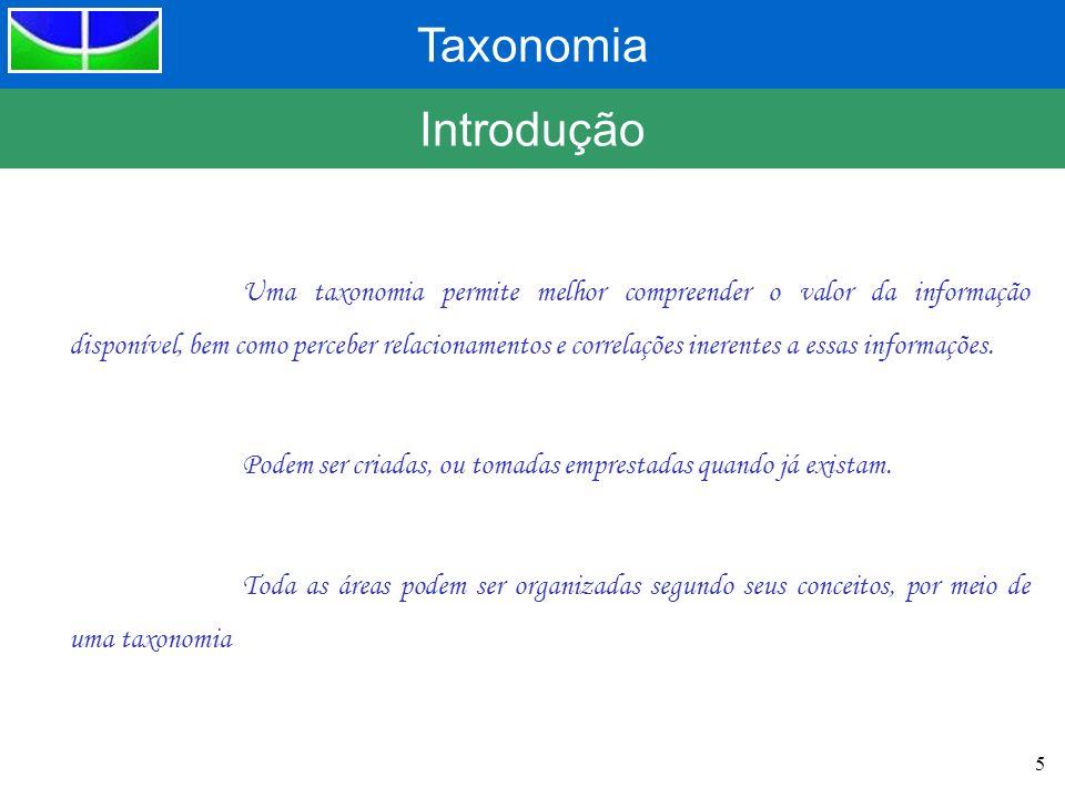 Taxonomia 5 Introdução Uma taxonomia permite melhor compreender o valor da informação disponível, bem como perceber relacionamentos e correlações iner