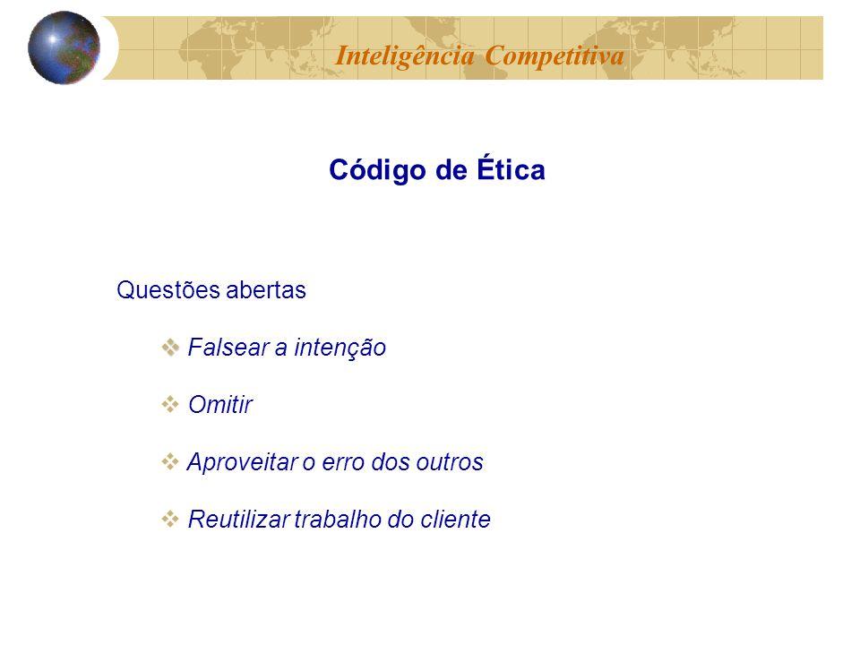 Questões abertas Falsear a intenção Omitir Aproveitar o erro dos outros Reutilizar trabalho do cliente Inteligência Competitiva Código de Ética