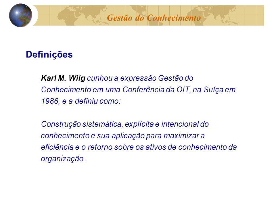 Karl M. Wiig cunhou a expressão Gestão do Conhecimento em uma Conferência da OIT, na Suíça em 1986, e a definiu como: Construção sistemática, explícit