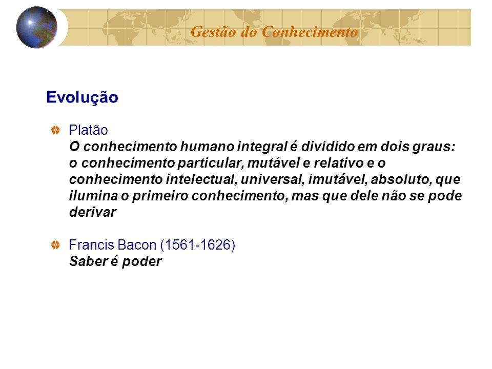 Platão O conhecimento humano integral é dividido em dois graus: o conhecimento particular, mutável e relativo e o conhecimento intelectual, universal,