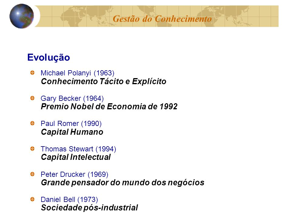 Michael Polanyi (1963) Conhecimento Tácito e Explícito Gary Becker (1964) Premio Nobel de Economia de 1992 Paul Romer (1990) Capital Humano Thomas Ste