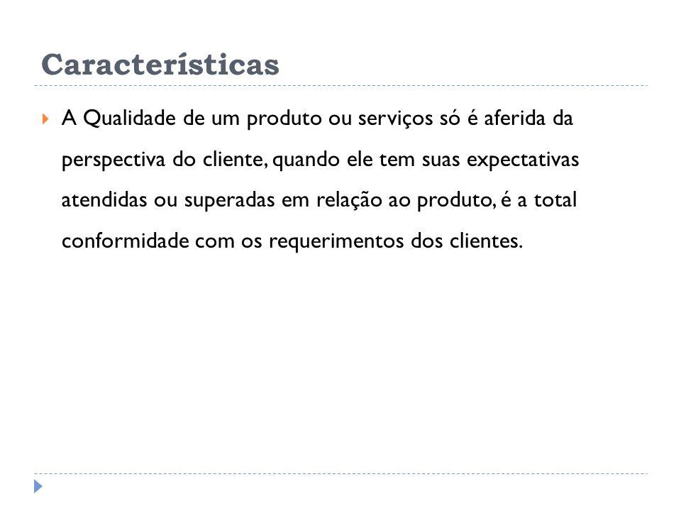 Características A Qualidade de um produto ou serviços só é aferida da perspectiva do cliente, quando ele tem suas expectativas atendidas ou superadas