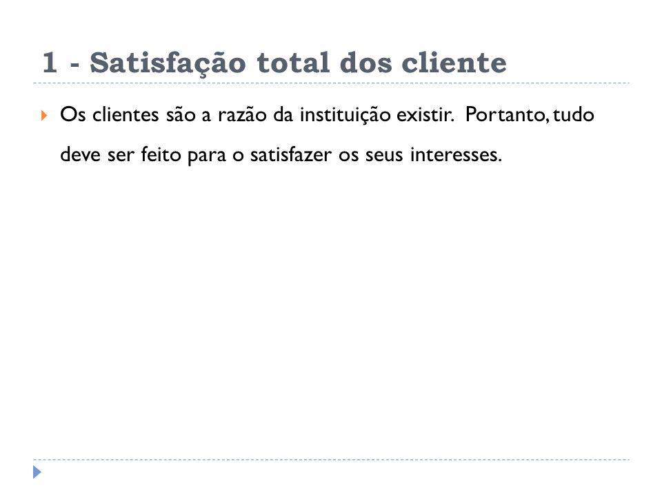 1 - Satisfação total dos cliente Os clientes são a razão da instituição existir.