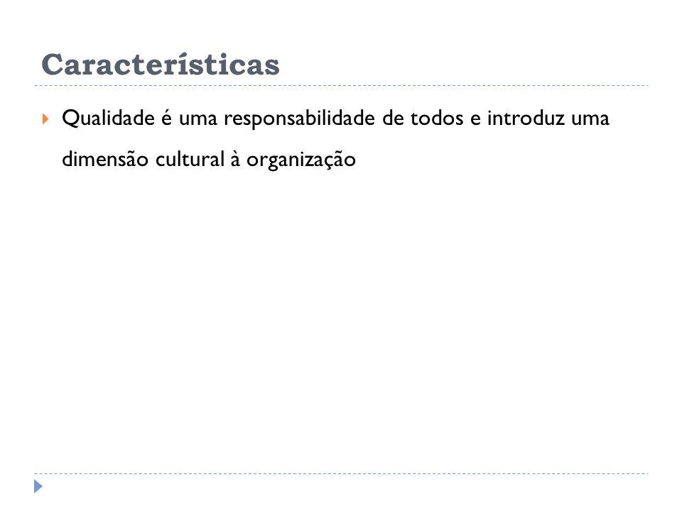Características Qualidade é uma responsabilidade de todos e introduz uma dimensão cultural à organização