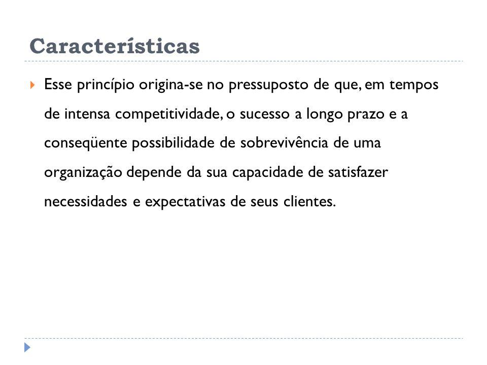 Características Esse princípio origina-se no pressuposto de que, em tempos de intensa competitividade, o sucesso a longo prazo e a conseqüente possibilidade de sobrevivência de uma organização depende da sua capacidade de satisfazer necessidades e expectativas de seus clientes.
