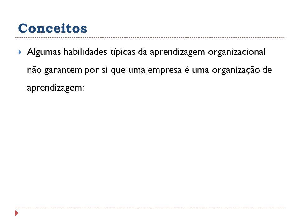 Conceitos Algumas habilidades típicas da aprendizagem organizacional não garantem por si que uma empresa é uma organização de aprendizagem: