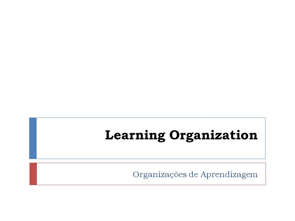 Learning Organization Organizações de Aprendizagem