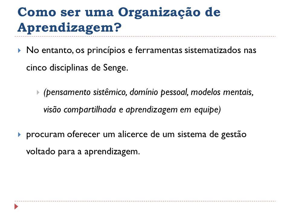 Como ser uma Organização de Aprendizagem? No entanto, os princípios e ferramentas sistematizados nas cinco disciplinas de Senge. (pensamento sistêmico
