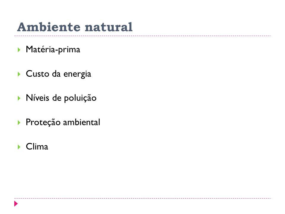 Ambiente natural Matéria-prima Custo da energia Níveis de poluição Proteção ambiental Clima