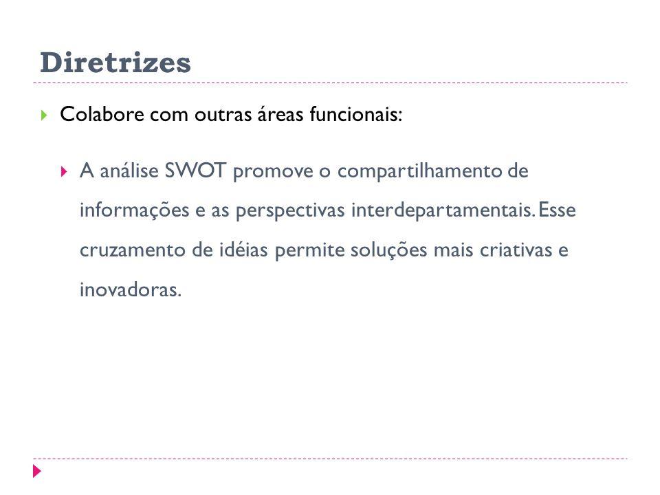 Diretrizes Colabore com outras áreas funcionais: A análise SWOT promove o compartilhamento de informações e as perspectivas interdepartamentais.