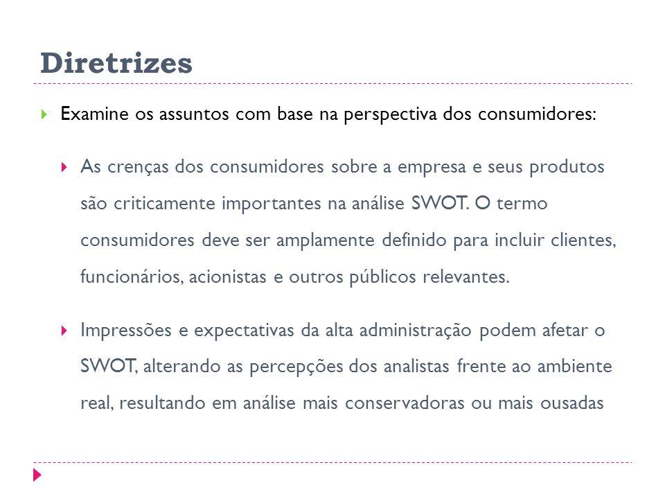 Diretrizes Examine os assuntos com base na perspectiva dos consumidores: As crenças dos consumidores sobre a empresa e seus produtos são criticamente importantes na análise SWOT.