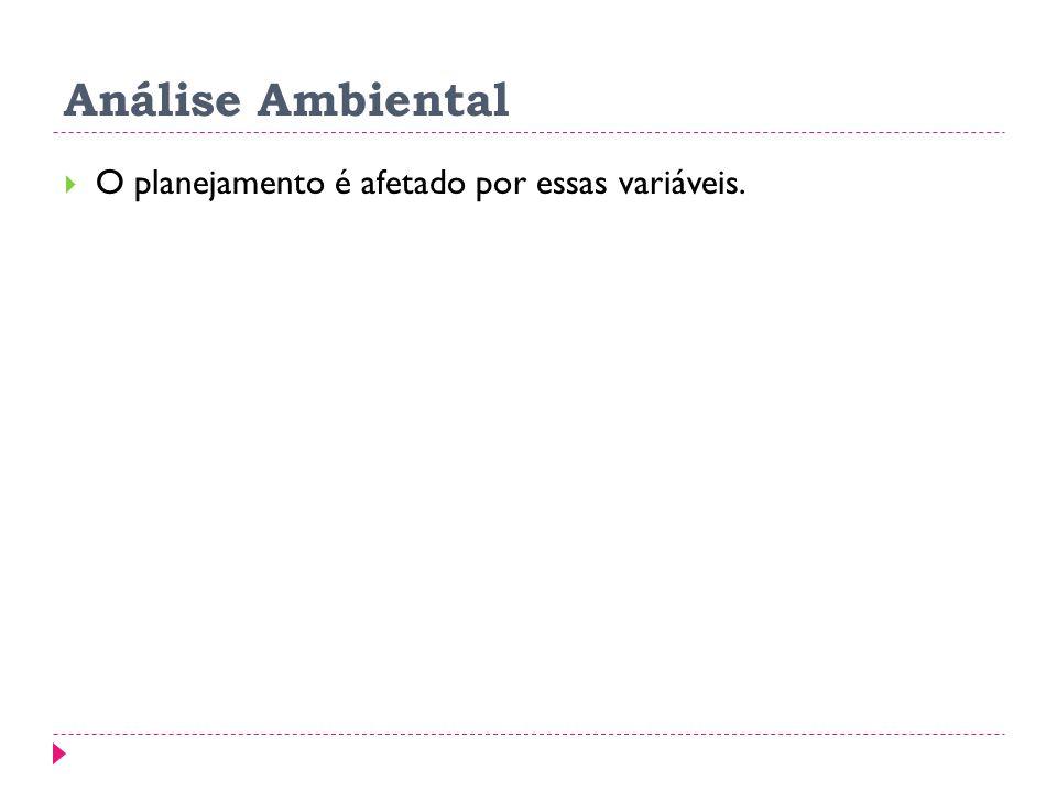 Análise Ambiental O planejamento é afetado por essas variáveis.