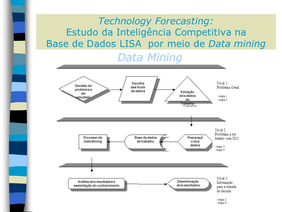 Preparaçã o dos dados Processo de Data Mining Base de dados de trabalho Extração dos dados de Trabalho Escolha das fonte de dados Decisão do problema a ser estudado Nível 1: Problema Geral - etapa 1 - etapa 2 Nível 2 Problema a ser tratado com DM - etapa 3 - etapa 4 Nível 3 Informação para a tomada de decisão - etapa 5 - etapa 6 Disseminação dos resultados Análise dos resultados e assimilação do conhecimento Data Mining