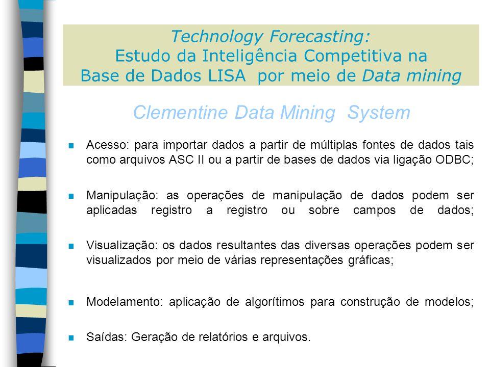 n Acesso: para importar dados a partir de múltiplas fontes de dados tais como arquivos ASC II ou a partir de bases de dados via ligação ODBC; n Manipulação: as operações de manipulação de dados podem ser aplicadas registro a registro ou sobre campos de dados; n Visualização: os dados resultantes das diversas operações podem ser visualizados por meio de várias representações gráficas; n Modelamento: aplicação de algorítimos para construção de modelos; n Saídas: Geração de relatórios e arquivos.