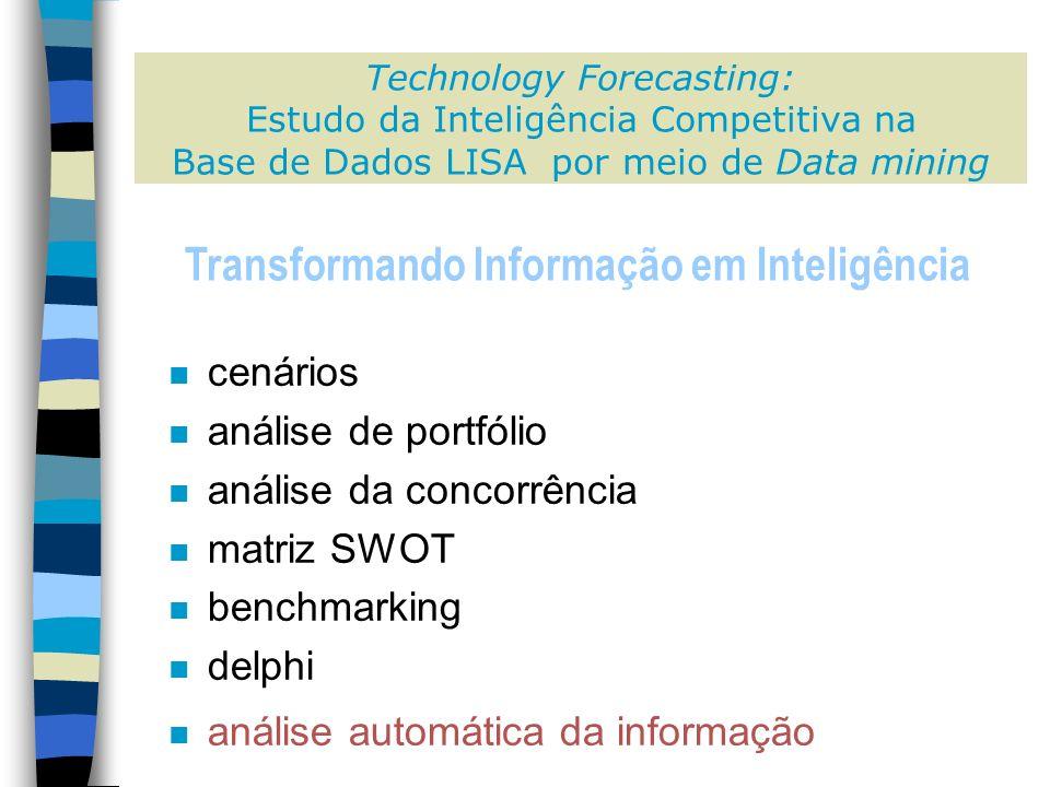 Technology Forecasting: Estudo da Inteligência Competitiva na Base de Dados LISA por meio de Data mining n cenários n análise de portfólio n análise da concorrência n matriz SWOT n benchmarking n delphi n análise automática da informação Transformando Informação em Inteligência