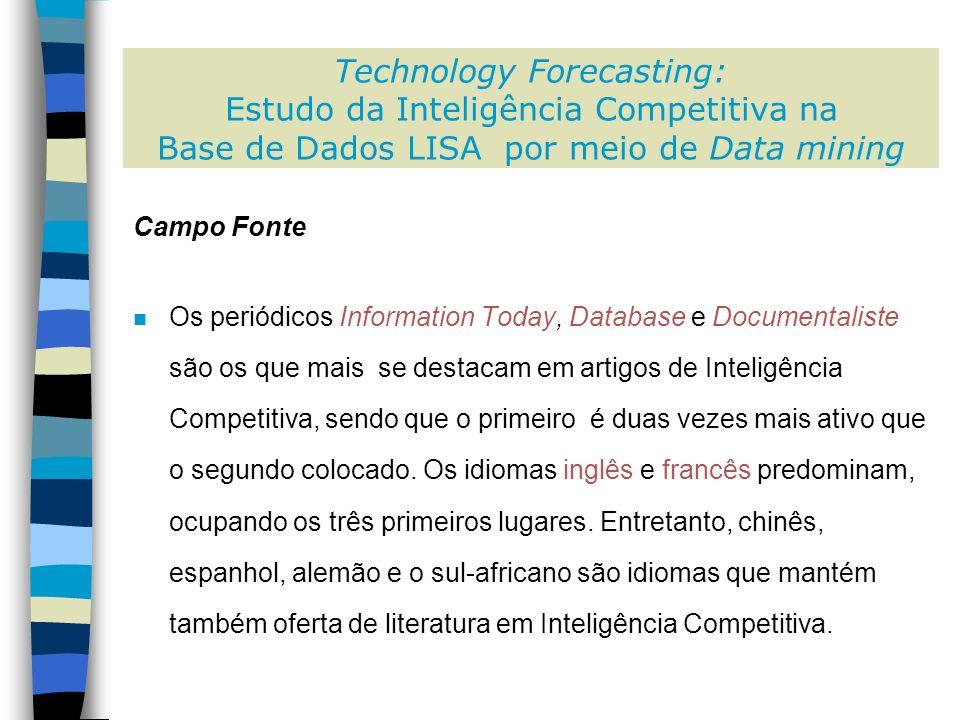 Campo Fonte n Os periódicos Information Today, Database e Documentaliste são os que mais se destacam em artigos de Inteligência Competitiva, sendo que o primeiro é duas vezes mais ativo que o segundo colocado.