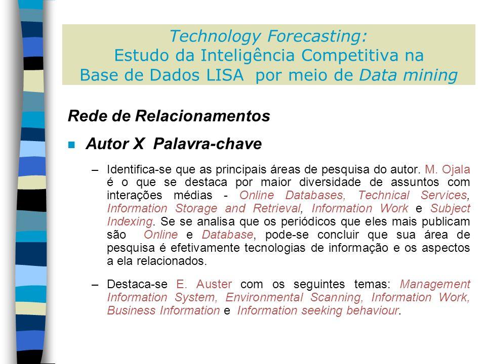 Rede de Relacionamentos n Autor X Palavra-chave –Identifica-se que as principais áreas de pesquisa do autor.