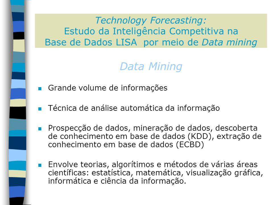 Data Mining n Grande volume de informações n Técnica de análise automática da informação n Prospecção de dados, mineração de dados, descoberta de conhecimento em base de dados (KDD), extração de conhecimento em base de dados (ECBD) n Envolve teorias, algorítimos e métodos de várias áreas científicas: estatística, matemática, visualização gráfica, informática e ciência da informação.